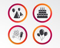 Birthday party. Cake, balloon, hat and fireworks. Birthday party icons. Cake, balloon, hat and muffin signs. Fireworks with rocket symbol. Double decker with Stock Photo