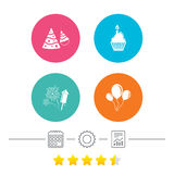 Birthday party. Cake, balloon, hat and fireworks. Birthday party icons. Cake, balloon, hat and muffin signs. Fireworks with rocket symbol. Cupcake with candle Royalty Free Stock Image