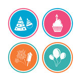 Birthday party. Cake, balloon, hat and fireworks. Royalty Free Stock Photos