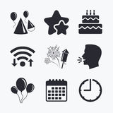Birthday party. Cake, balloon, hat and fireworks. Birthday party icons. Cake, balloon, hat and muffin signs. Fireworks with rocket symbol. Double decker with Stock Images