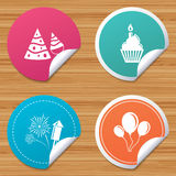 Birthday party. Cake, balloon, hat and fireworks. Round stickers or website banners. Birthday party icons. Cake, balloon, hat and muffin signs. Fireworks with Stock Images