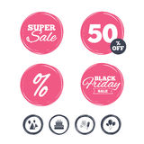 Birthday party. Cake, balloon, hat and fireworks. Super sale and black friday stickers. Birthday party icons. Cake, balloon, hat and muffin signs. Fireworks Stock Photography