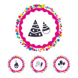 Birthday party. Cake, balloon, hat and fireworks. Web buttons with confetti pieces. Birthday party icons. Cake, balloon, hat and muffin signs. Fireworks with Stock Image