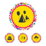 Birthday party. Cake, balloon, hat and fireworks. Web buttons with confetti pieces. Birthday party icons. Cake, balloon, hat and muffin signs. Fireworks with Stock Images