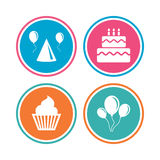 Birthday party. Cake, balloon, hat and muffin. Stock Image