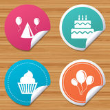 Birthday party. Cake, balloon, hat and muffin. Round stickers or website banners. Birthday party icons. Cake, balloon, hat and muffin signs. Celebration symbol Stock Image
