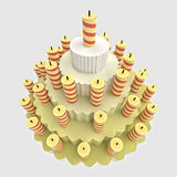 Birthday party cake with candles Royalty Free Stock Images