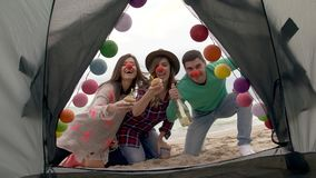 Birthday party at camping on the beach stock footage