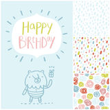 Birthday Party Card And Patterns Set Royalty Free Stock Image
