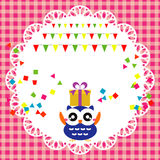 Birthday party card with cute owl Stock Photo