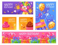 Birthday Party Cards Set. Happy birthday greeting party invitation funny cards banners collection with confetti cakes balloons presents isolated vector vector illustration