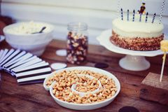 Birthday Party Cashews Nuts Tray Cake Black White Wood Stock Photo