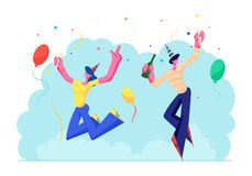Birthday Party Celebration. Cheerful People in Festive Hats with Wine Bottle and Glass in Hands Celebrating Holiday. On Colorful Background with Balloons and vector illustration