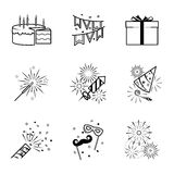 Birthday party celebration fireworks icons set. Vector illustration Royalty Free Stock Image