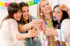 Birthday party celebration - woman with confetti Stock Image