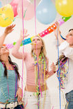 Birthday party celebration - woman with confetti stock photography