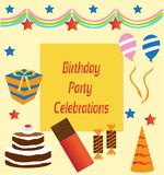 Birthday Party Celebrations and Enjoyment Greeting Card. Greeting Card for Birthday Party Celebrations, best wishes, decorations and enjoyment royalty free illustration