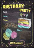 Birthday party chalkboard design. Royalty Free Stock Image