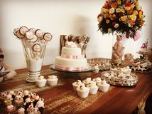 Birthday party child girl. Table of sweets Stock Photo