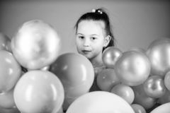 Birthday party. Childrens day. Carefree childhood. All those balloons for me. Happiness positive emotions. Obsessed with. Air balloons. Having fun. Balloons stock photo