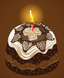 Birthday party chocolate cake with candle. Vector Stock Photos
