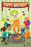 Birthday party clown. A vector illustration of a birthday party with a clown Royalty Free Stock Image