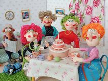 Birthday Party. Cold porcelain clay sculpted puppets Stock Photos