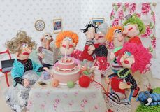 Birthday Party. Cold porcelain clay sculpted puppets Stock Images