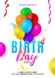 Birthday party colorful flyer template Stock Photography