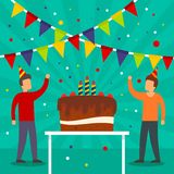 Birthday party concept background, flat style vector illustration