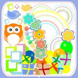 Birthday party cute birds and owl gift boxes Royalty Free Stock Photos
