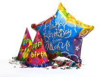 Birthday party decoration stock photo