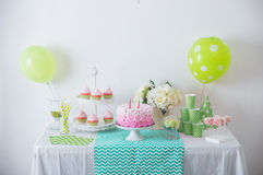 Birthday party decoration. Portrait of Birthday party decoration with full of cake and sweet candy Royalty Free Stock Photo