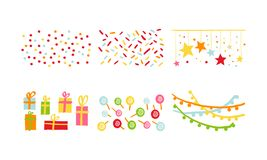 Birthday party decoration symbols set, carnival festive design elements with colorful lollipops, flags, confetti, gifts. Vector Illustration isolated on a white vector illustration