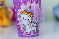 Birthday party decoration with unicorn theme. In brazil stock photography
