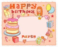 Birthday party design card, vector illustration. Royalty Free Stock Images