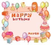 Birthday party design card, vector illustration. Royalty Free Stock Photos
