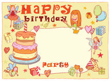 Birthday party design card, vector illustration. Royalty Free Stock Image