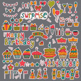 Birthday party design. Cute hand drawn elements on grey backgrou Stock Photography