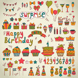 Birthday party design. Cute hand drawn elements Stock Photography