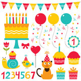 Birthday party design elements. Set Stock Images