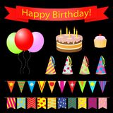 Birthday party design elements set. Royalty Free Stock Images