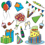 Birthday and Party Doodle. A cartoon color doodle with a birthday and party themes Stock Image