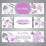 Birthday party doodle banner. Vector template banners for cards, invitation, flyer, party, wedding, brochure with hand. Drawn party elements vector illustration