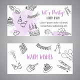 Birthday party doodle banner. Vector template banners for cards, invitation, flyer, party, wedding, brochure with hand. Drawn party elements stock illustration