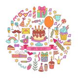 Birthday party doodle icons set. Birthday party colorful cute decorative doodle icons set symbols collection Royalty Free Stock Photo