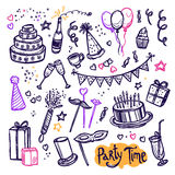 Birthday party doodle pictograms collection Royalty Free Stock Images