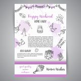 Birthday party doodle posters. Vector template banners for cards, invitation, flyer, party, wedding, brochure with hand. Drawn party elements stock illustration