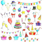 Birthday party doodle set Stock Image