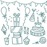 Birthday party doodles Royalty Free Stock Photo